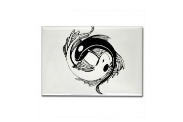 Tribal Yin Yang Fish Fish Rectangle Magnet by CafePress