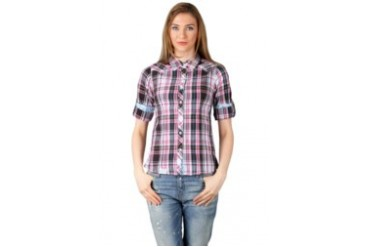 Heath Ex Wrangler Square Motif Pink Brown Short Sleeve Shirt