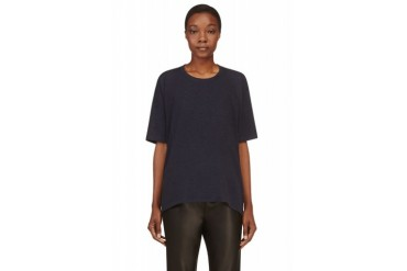 T By Alexander Wang Navy Blue Enzyme Washed T shirt