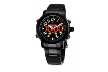 Weide Dual Time WH1105 LED Black Steel Watch