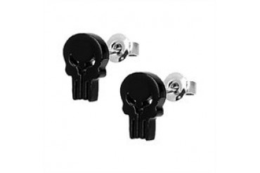 Marvel Comics Punisher Die Cut Black Skull Stainless Steel Stud Earrings
