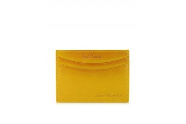Yellow Hand Burnished Leather Credit Card Case