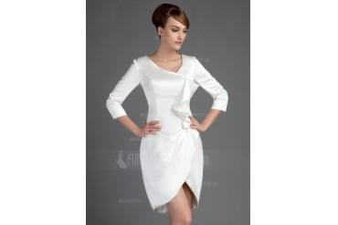 Sheath/Column Short/Mini Charmeuse Mother of the Bride Dress With Cascading Ruffles (008015722)