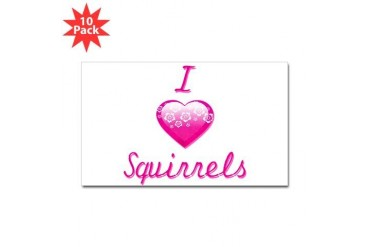 I Love/Heart Squirrels Animals Sticker Rectangle 10 pk by CafePress