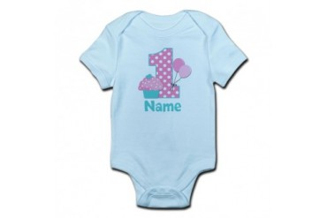 CafePress 1st Birthday Cupcake Pink Blue Body Suit