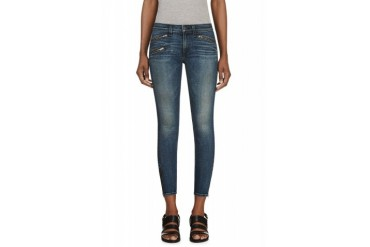 Rag And Bone Indigo Zippered Cropped Jeans