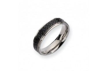 Titanium, 6mm Black Braid Design Ring - Size 12