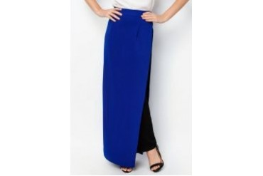 LASH Colour Block Side Slit Maxi Skirt
