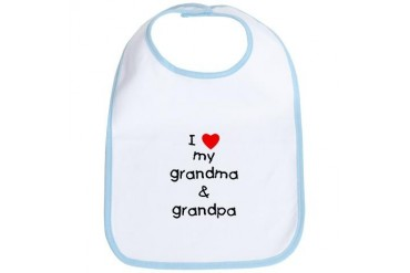 I love my grandma grandpa Humor Bib by CafePress