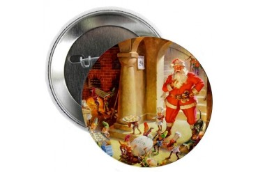 Santa His Elves Bake Cookies Funny 2.25 Button by CafePress