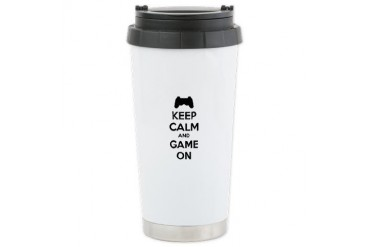 Keep calm and game on Funny Ceramic Travel Mug by CafePress