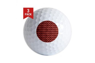 Zigzags in Burgundy Red. Modern Golf Balls by CafePress