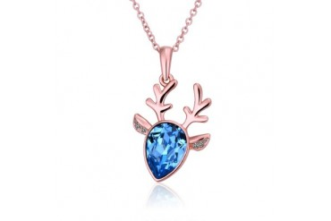 Rose Gold Plated Moose Blue Necklace