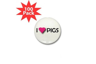 I LUV PIGS Pets Mini Button 100 pack by CafePress