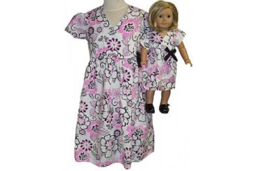 Matching Girl And Doll Clothes Pink Black Floral Dress Size 6