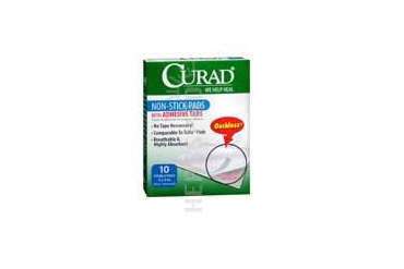 Curad Non Stick Pads With Adhesive Tabs ouchless of size: 3 X 4 inch 10 Each