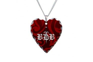 BDB Dagger Logo Red Heart Charm Necklace