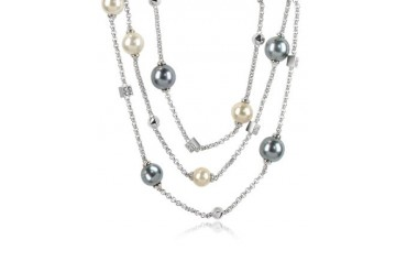 Glass Pearl Triple Chain Necklace