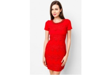 Laced Short Sleeve Short Dress