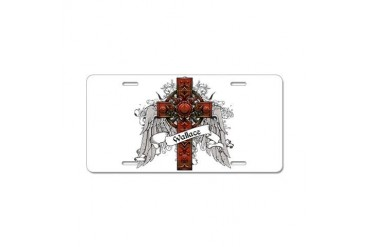 Wallace Tartan Cross Family Aluminum License Plate by CafePress