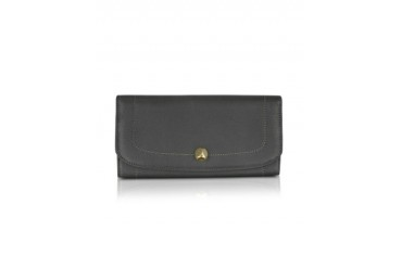Dark Gray Leather Continental Wallet