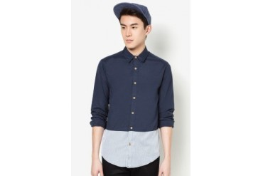 Long Sleeve Chambray Shirt With Color Block Panel