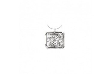 h Letter Z Engraved Initial Necklace in Rhodium Plating 925 Sterling Silver