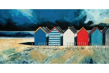 Beach Huts and Beach II Poster Print by Stuart Roy (10 x 20)