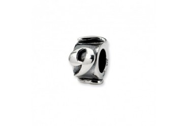 Number 9, Message Charm in Sterling Silver For 3mm Charm Bracelets
