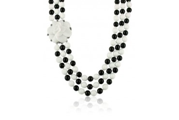 Black & White Camelia Clasp Glass Pearl Necklace