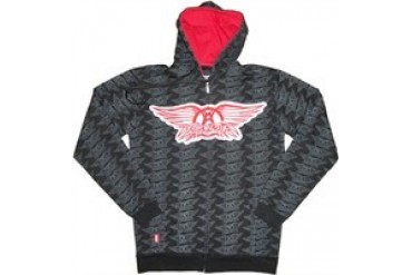 Aerosmith Many Logo Full Zipper Hooded Sweatshirt