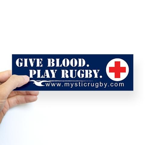 8aa7d3ab Give Blood Play Rugby Bumper Sticker Sports Sticker Bumper by CafePress