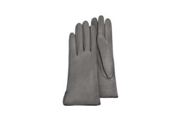 Women's Gray Calf Leather Gloves w/ Silk Lining