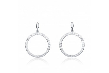 CZ SS Rhodium Plated Brushed Bezel Set Outlined Circle Earrings