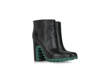 Green Sawtooth Leather Ankle Boot