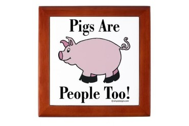 Pig Tile : Pigs Are People Too Vegetarian Keepsake Box by CafePress