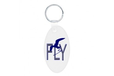 FLY Vintage Aluminum Oval Keychain by CafePress