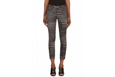 Helmut Lang Black And White Sediment Print Cropped Skinny Jeans