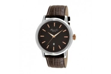 Brown Round Watch With Brown Croco-Leather Strap