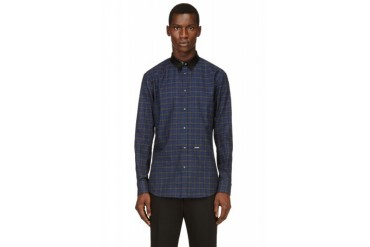 Dsquared2 Blue And Grey Leather Collar Plaid Shirt