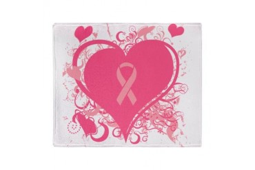 Pink Hearts and ribbons Stadium Blanket Breast cancer Throw Blanket by CafePress