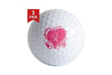 Pink Hearts and ribbons Breast cancer Golf Balls by CafePress