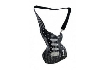 Sparkling Metallic Rockin Guitar Shaped Crossbody Bag