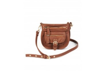 Imosion Zipper and Buckle Crossbody Handbag Brown