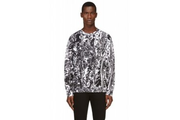 Mcq Alexander Mcqueen Black And White Marbled Sweatshirt