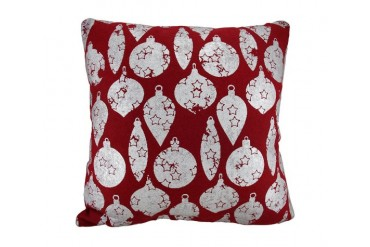 Red Silver Christmas Ornaments Throw Pillow 18 Inch