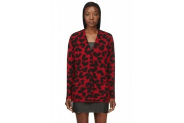 Saint Laurent Red And Black Oversized Heart Print Cardigan