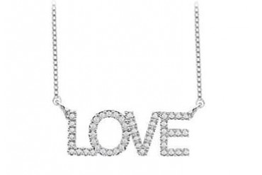 CZ LOVE Necklace with One Carat in Rhodium Treated 925 Sterling Silver