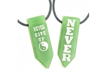 Never Give Up Amulets Couples Yin Yang Green Quartz Arrowhead Necklaces