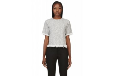 T By Alexander Wang Grey Cotton Burlap Frayed And Cropped Shirt